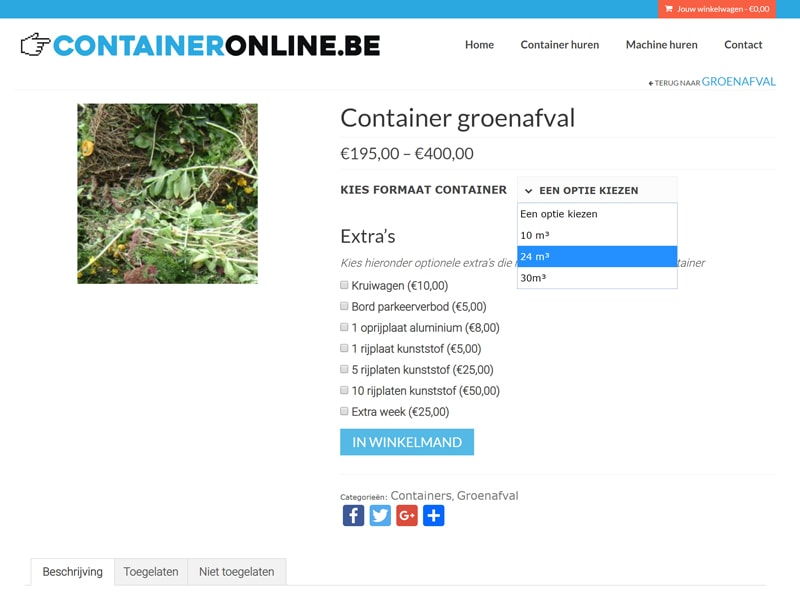 Containeronline.be website